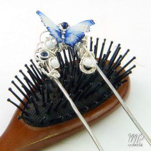 fourche à cheveux papillon bleu