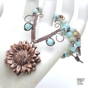 collier fabulae fleur cuivre