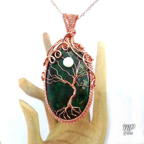 pendentif ashley arbre de vie sur malachite