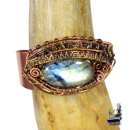 bracelet manchette scatha oeil de dragon en labradorite