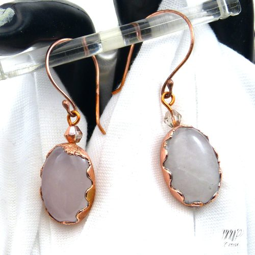 boucles d'oreille anthéa quartz rose