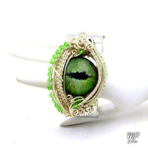 bracelet manchette oeil de dragon vert Vhagar