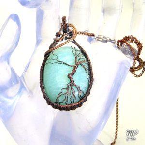 pendentif Liana - arbre de vie sur amzonite