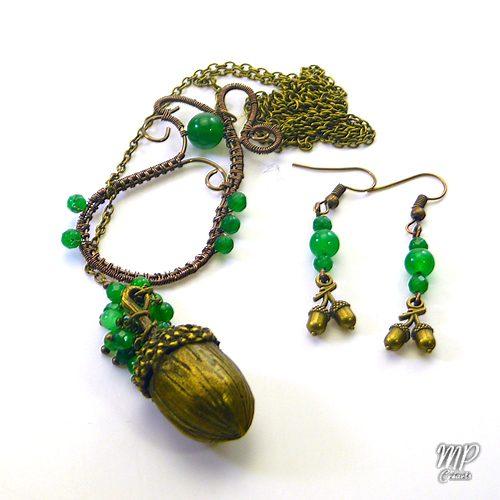 parure stejar avec perles en jade