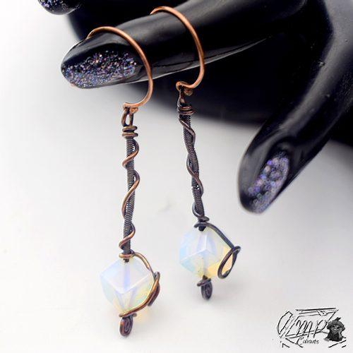 boucles d'oreille goba cuivre et opalite