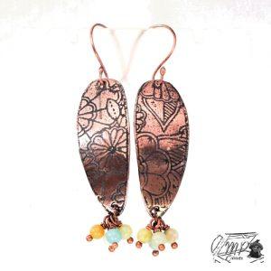 boucles d'oreille kollae cuivre et amazonite