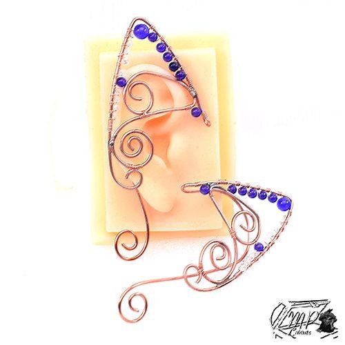 bijoux d'oreille elfique avec améthystes