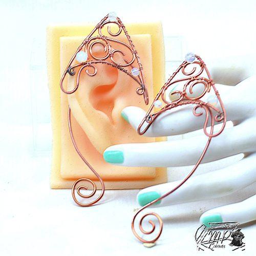 oreilles elfiques cuivre et opalite