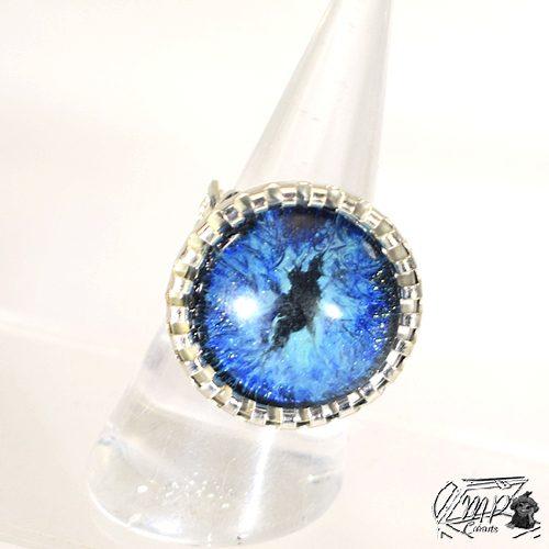 bague ajustable avec oeil de dragon bleu