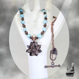 colier giesi - cuivre et perles d'eau douce