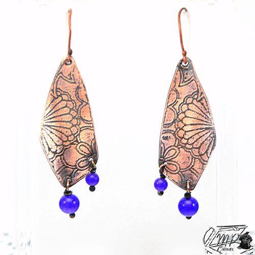 boucles d'oreille chesed en cuivre gravé avec perles en améthyste