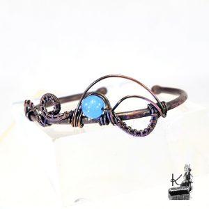 bracelet jonc folki avec aigue-marine