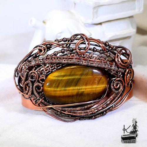 Bracelet manchette balerion oeil de tigre