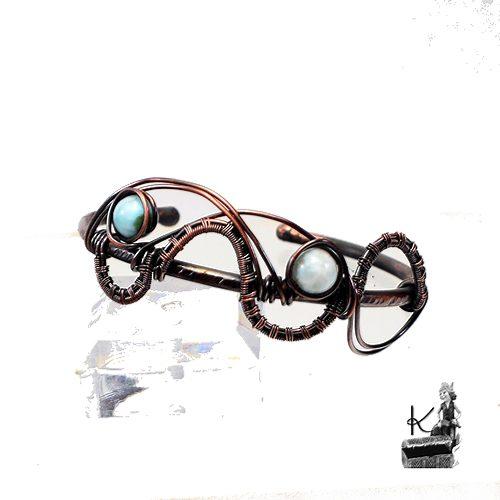 Bracelet jonc Degan avec perles en larimar