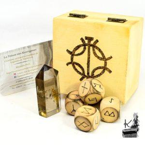 trèsor-box asta avec 4 dés runiques et son quartz fumé