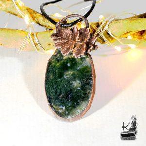 Pendentif guarradh en quartz jardin vert et cuivre