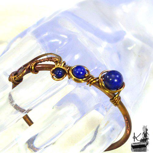 Bracelet jonc en cuivre et lapis lazuli Servan