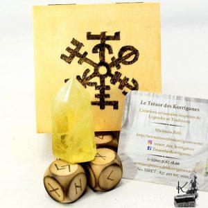 tresor-box gyda - dés runiques et citrine