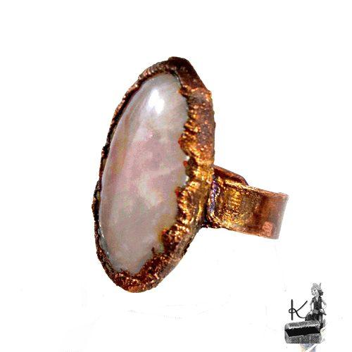 bague navi en cuivre et quartz rose