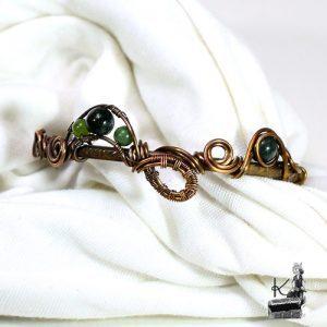 bracelet jonc pena en cuivre avec agate mousse