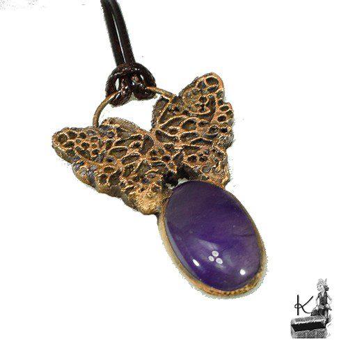 pendentif drugelis en cuivre et améthyste