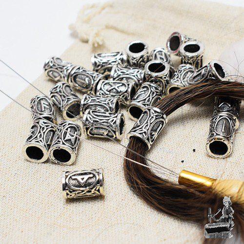 bijoux de cheveux ou de barbe runiques argentés