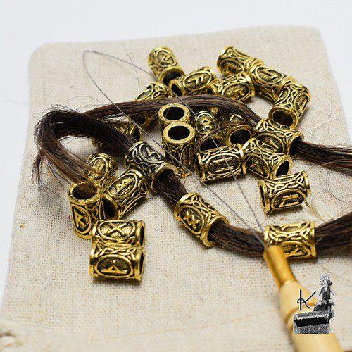 bijoux de cheveux ou de barbe runiques dorés