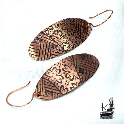 boucles d'oreille sinah en cuivre gravé