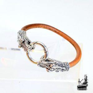 Bracelet Zmej - cuir marron et têtes de dragon