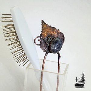 Fourche à cheveux Dumna avec labradorite larvikite