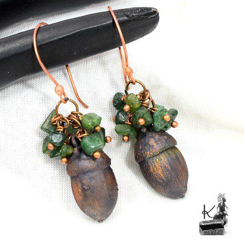 boucles d'oreille oaku en jade et cuivre