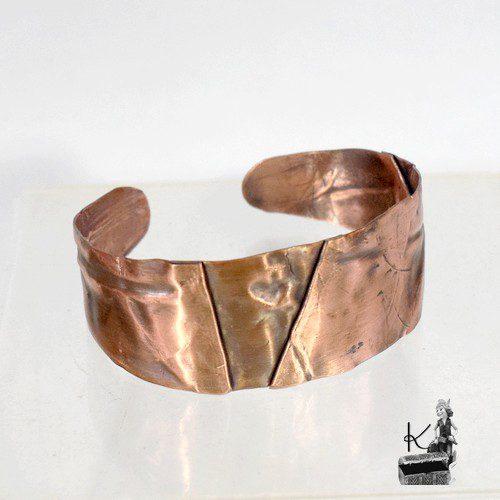 bracelet manchette polda en cuivre