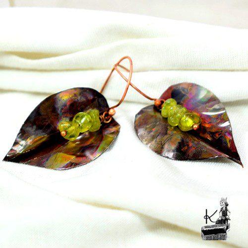 boucles d'oreille adela en cuivre et peridot