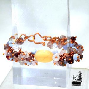 bracelet haley - quartz rose-calcedoine-pierre du soleil