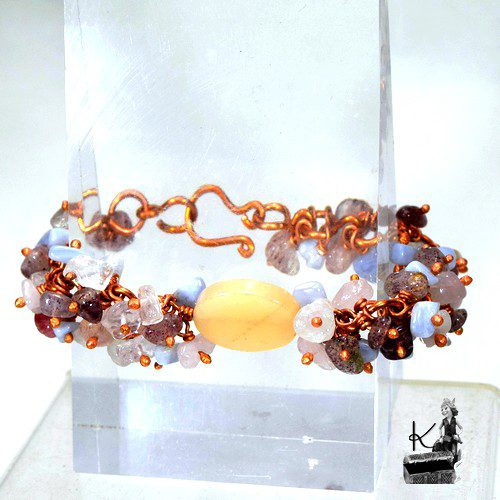 bracelet haley - quartz rose-calcedoine-pierre du soleil