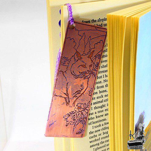 marque pages en cuivre gravé lucifer