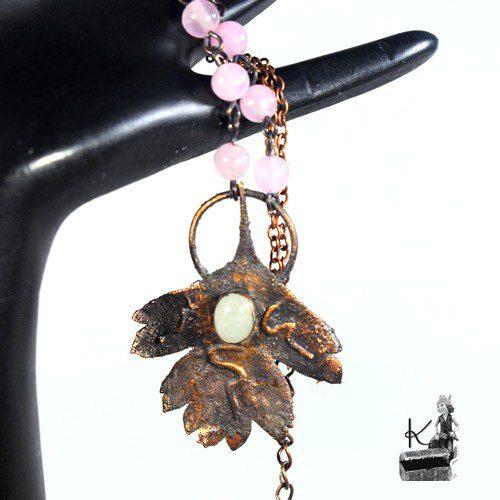 Collier Beren avec pierre de lune et quartz rose
