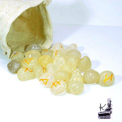set de runes futhark en quartz transparent
