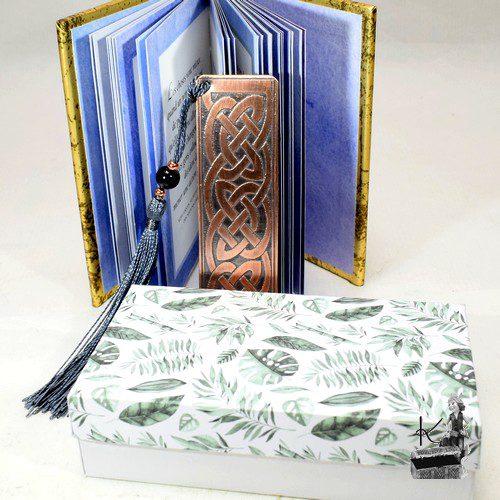 boite cadeau feuilles vertes pour marque pages