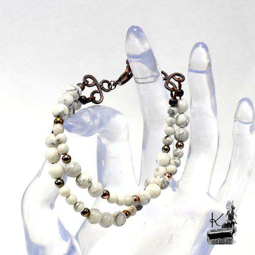 bracelet 2 rangs Maina - perles en howlite