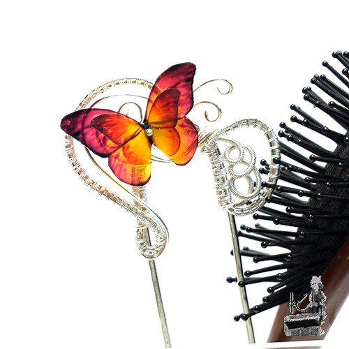 fourche à cheveux devin avec papillon transparent
