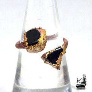 bague ajustable yulia en obsidienne et cuivre