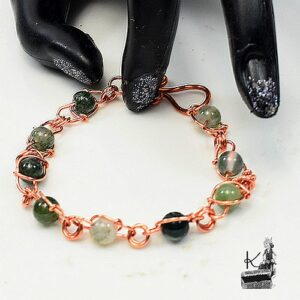 Bracelet ausir en cuivre et agate mousse