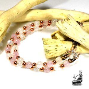 Bracelet Harmony - pierre de lune et quartz rose