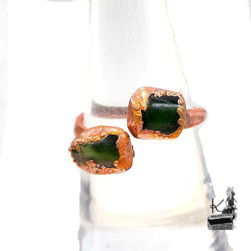 Bague ajustable Jefa en cuivre et jade