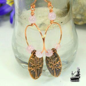 Boucles d'oreille Miriel en cuivre avec quartz rose