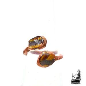 Bague ajustable Thiten en cuivre avec l'oeil de tigre