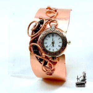Bracelet manchette montre caelan avec tourmaline noire
