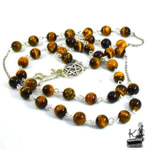 Perles de prière en oeil de tigre Cernunnos