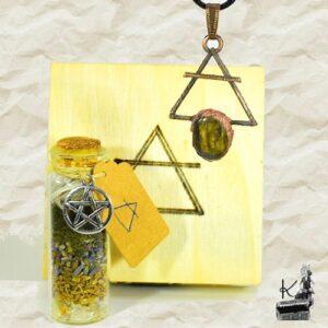 "Tresor Box ""Air"" avec spell jar et pendentif en cuivre et labradorite"